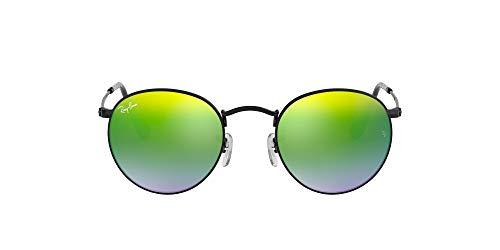Ray-Ban Unisex Round Metal Sonnenbrille, Schwarz (Gestell: schwarz, Gläser: verspiegelt grünverlauf 002/4J), Medium (Herstellergröße: 50)