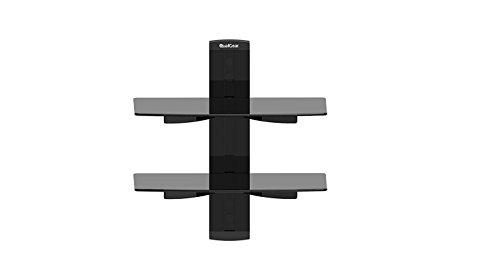 QualGear Suporte universal de parede de prateleira dupla para componentes A/V de até 8 kg/8 kg (X2), preto (Qg-dB-002-Blk)