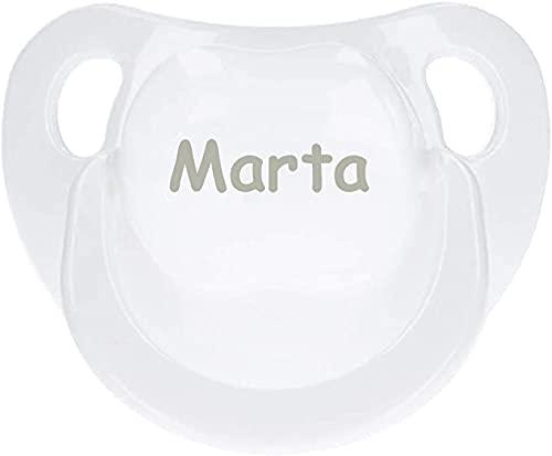 BebeDeParis | Regalos Originales para Bebés Recién Nacidos | Chupete Personalizado con Nombre (Blanco)