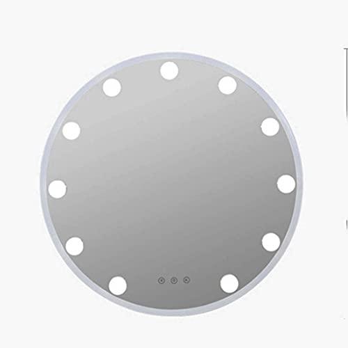 Väggspegel Makeup sminkspegel Stor upplyst LED-spegel Justerbar ljusstyrka Ljusfärg Runt stort badrumsfönstret Spegel med glödlampa Vit metallram Laddning Använd hängande för badrum Sovrum