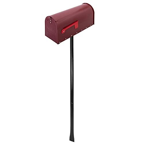PrimeMatik - Buzón US Mail de Aluminio para Correo Postal Americano Rojo con Soporte
