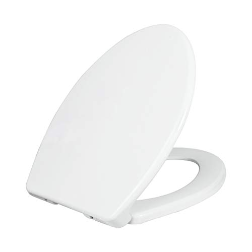 LUXE TS1008E Elongated Comfort Fit Toilet Seat with Slow Close, Quick Release Hinges, Non-Slip Bumpers, and Fits with LUXE Bidets (White)