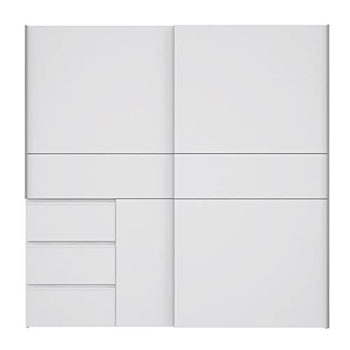 AVANTI TRENDSTORE - Fjolla - Armadio in legno laminato con ante scorrevoli, all'interno ripiani e appendiabiti. Disponibile due colorazioni. Dimensioni LAP 200,1x200,5x61,2 cm (bianco)