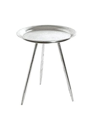 Haku-Möbel Mesa Auxiliar, Metal, Plata, Ø 38 cm x H 47 cm