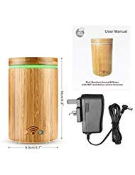 Konesky Bamboo Wi-Fi Smart Essential Oil Diffuser APP Remote Control Voice Control with Alexa Ultrasonic Essential Oil Diffuser Compatible with Alexa, Colorful LED Light (160ML)
