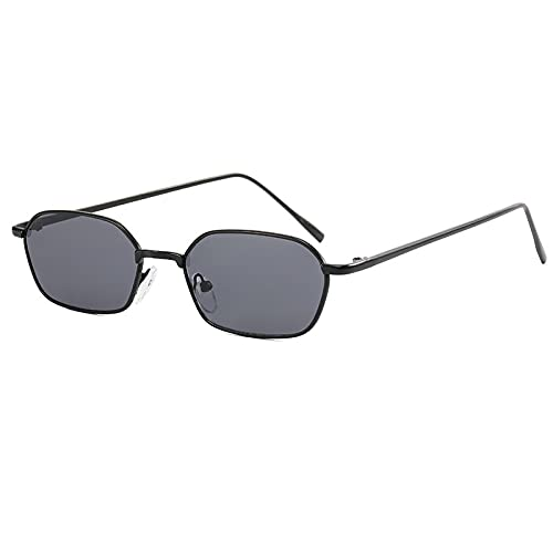 BANLV Gafas de Sol de Montura pequeña de Metal para Mujer Gafas de Sol de conducción Retro Hombres Europa y América