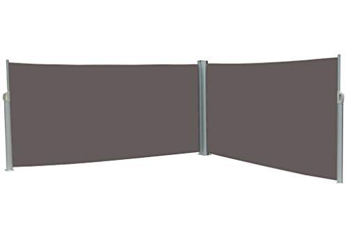 vanvilla Doppel Seitenmarkise Doppelmarkise Sonnenschutz Sichtschutz Grau/Anthrazit 180x600 cm