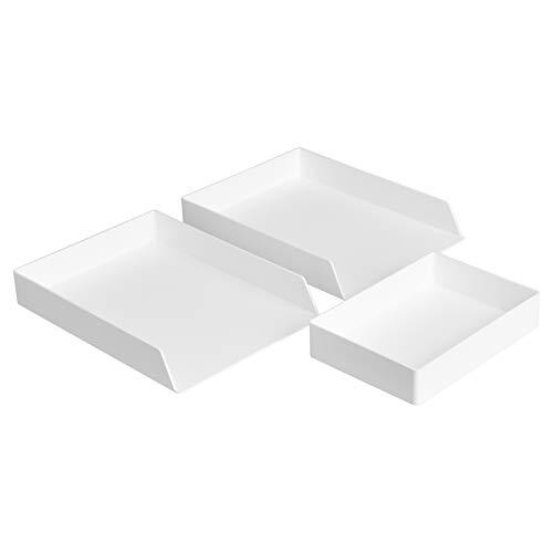 AmazonBasics Plastic Organizer - Set di ripiano portacorrispondenza (conf. da 2) e vaschetta portaoggetti, colore: bianco