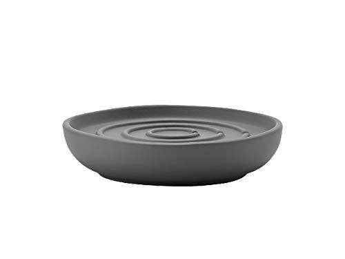 Zone Denmark Nova Seifenschale/Seifenhalter/Seifenablage, Porzellan mit Soft Touch-Beschichtung, grau