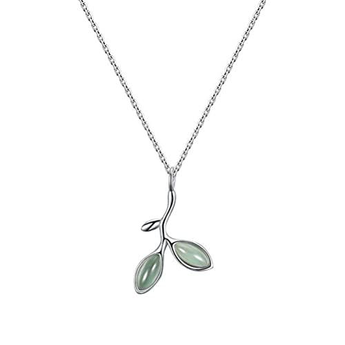 GYUFU Collar de Regalo para Mujer Summer S925 Collar de Hoja de Ópalo de Plata Esterlina, Cadena de Clavícula de Hoja Femenina,oro, Plata 925