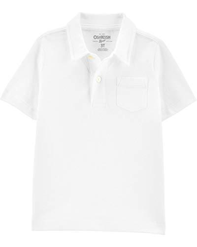 Osh Kosh Boys' Toddler Short-Sleeve Polo Shirt, White, 5T