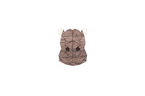 BeWooden Tier Brosche aus Holz | Nachhaltig & individuell | handgefertigter Schmuck | Wald-, Hunde-, Safari-Kollektion (Hippo)