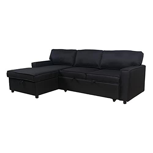 HAZYJT Sofá Cama, sofá Plegable, 3 plazas en Forma de L Sofá Moderno de Tela, salón de Dormitorio de 231 cm Sofá Cama, sofá con función para Dormir, Conjunto de sofás, Negro