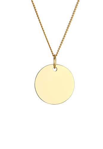 Elli PREMIUM Halskette Damen mit Anhänger Platte Kreis in 585 Gelbgold