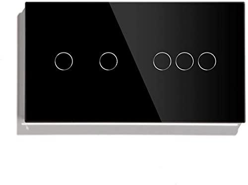 KFJZGZZ Interruptor Tactil 5 Interruptor táctil de pandillas 157mm 1 vía Interruptor de luz de Pared Blanca Negro Negro Panel Táctil Sensor Impermeable Interruptor Interruptor Inteligente