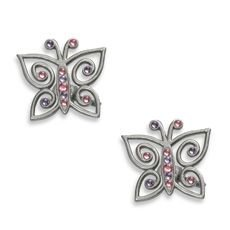 Cambria® My Room Jeweled Butterfly Finial in Brushed Nickel (Set of 2) for Girls Bedroom