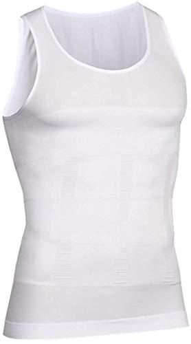 i-select Shapewear Ärmelloses Kompressions-Shirt Taille Fettpolster Tank Top Druckaufbau Innenhemd (EU L/Asia Etikett XL, Weiß)
