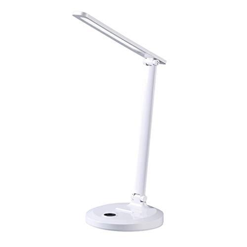 BIAOYU Lámpara de escritorio de carga USB LED de aprendizaje de protección ocular titular del teléfono móvil interruptor táctil atenuación lámpara de mesa para lectura de trabajo (color: blanco)