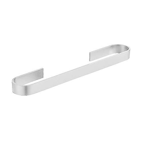 Toallero de baño / toallero de baño, taladra libre/fijación de tornillos, de aluminio, 40 cm (con paquete de tornillos + adhesivo autoadhesivo y pegatinas de ayuda) (plateado)