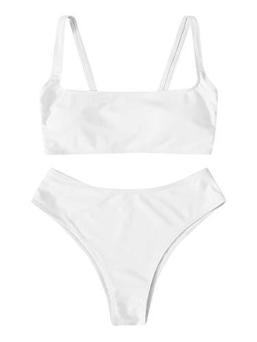 SweatyRocks Women's Swimwear Set Solid Scoop Neck High Waisted Bikini Swimsuits White Small.