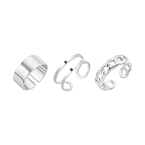 ZSDFW Juego de 3 anillos de cristal para nudillos ajustables para dedos tallados, accesorios para mujeres y niñas