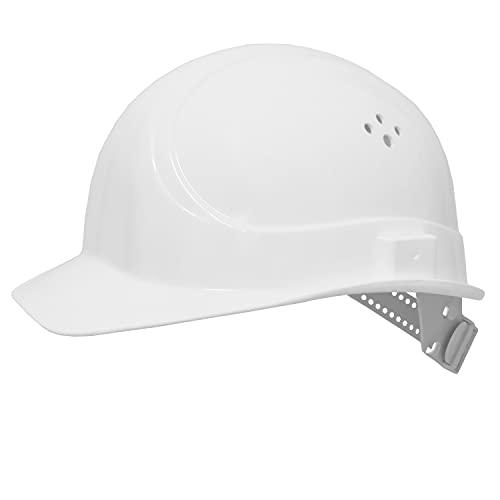 EU Schutz - BAU-Schutzhelm - DIN EN 397 - Einstellbarer Arbeitshelm - Bauarbeiterhelm Schutzhelm Bauhelm - mit 6-Punkt Gurtband mit Leder Schweißband an der Stirn