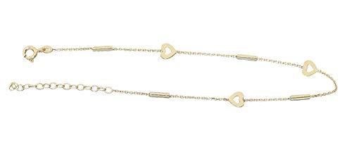 Hobra-Gold Fußkettchen Gold 585 Herzen Röhrchen funkelndes sexy Fußkette 14 Karat Anhänger