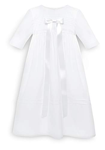 Bateo Design Baby Taufkleid aus Baumwolle David mit Schleife in Weiß 68