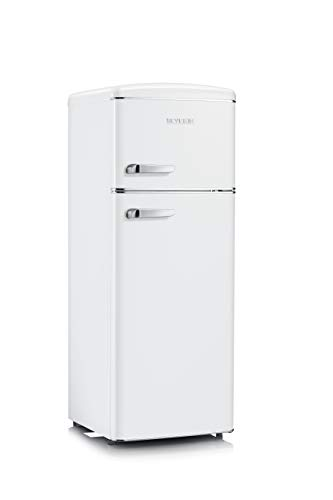 SEVERIN Réfrigérateur Congélateur 2 portes, Pose libre, Longueur 55 cm, 206L, Classe E, Veggibox incluse, Rétro, Blanc, RKG 8935