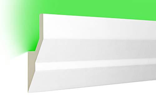 HEXIM LED Stuckleisten aus PU - Indirekte Beleuchtung mit modernen Deckenleisten, lichtundurchlässig, leicht und schlagzäh - (10 Meter Sparpaket LED-9 100x40mm) Zierprofil, Stuck, Deckenbeleuchtung