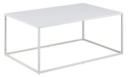 AC Design Furniture Tavolino Basso, Metallo, Bianco, 90 x 40 x 60 cm
