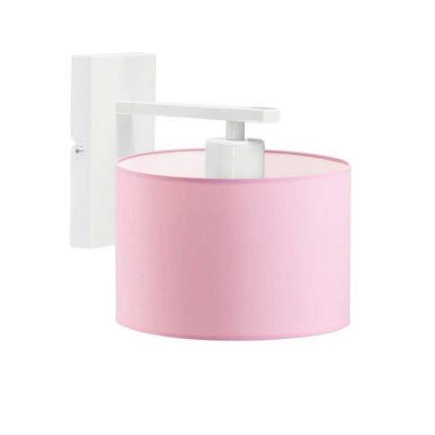 Split - Lámpara de pared con pantalla de lámpara, color rosa claro y blanco