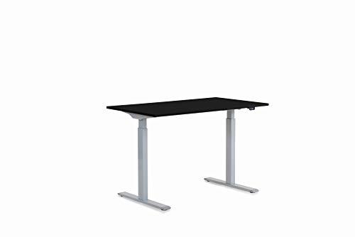Kare Design Office 120x70cm, Elektrisch Doppelmotor, Stufenlos höhenverstellbares Tischgestell inkl. Tischplatte, Steh-Sitz Schreibtisch, Grau-Schwarz, 18mm MFC ABS Kunststoffkante