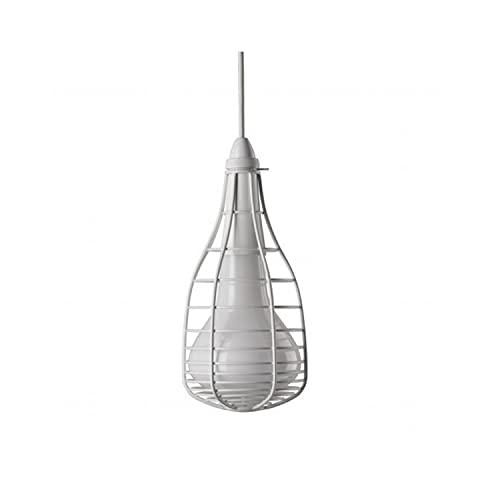 Lámpara Colgante 33W, Casquillo G9, H10M, de Cristal soplado y Metal Lacado, Modelo Cage Mic Diesel, 13,3 x 13,3 x 29 centímetros, Color Blanco (Referencia: LI0277-10E101)