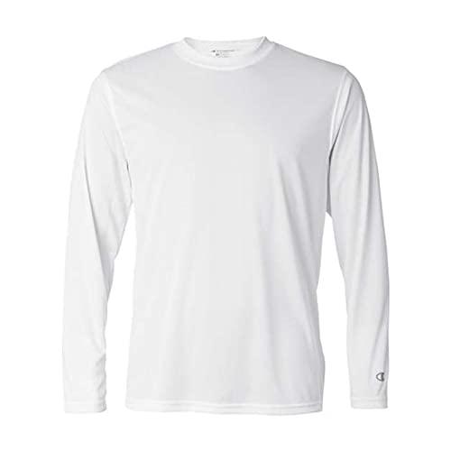 Champion Camiseta masculina de manga comprida com desempenho de secagem dupla, Branco, Small