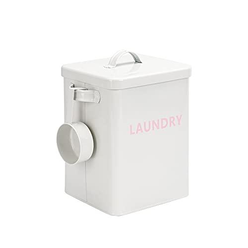 Baffect Boîte à la Maison de Stockage de Poudre de blanchisserie avec la Pelle, récipient de la boîte de Stockage de Poudre à Laver de bidon de Poudre à Laver en métal de 3kg (Blanc)