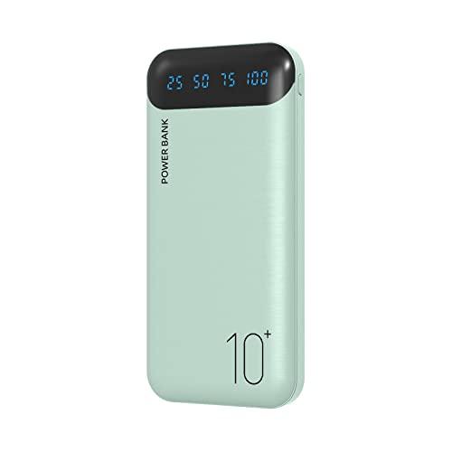 Power Bank 10000mAh Cargador Portátil Batería Externa con 2 Salidas USB 2.4 A y Entrada USB C Compatible con Huawei iPhone 12 11 X iPad Samsung Galaxy S20 Android Tablet Plus (Verde)