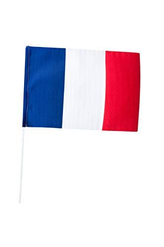 P'tit Clown- Drapeau France tissu - 30 x 40 cm - hampe 60 cm, Unisex-Adult, 29730, Taille Unique