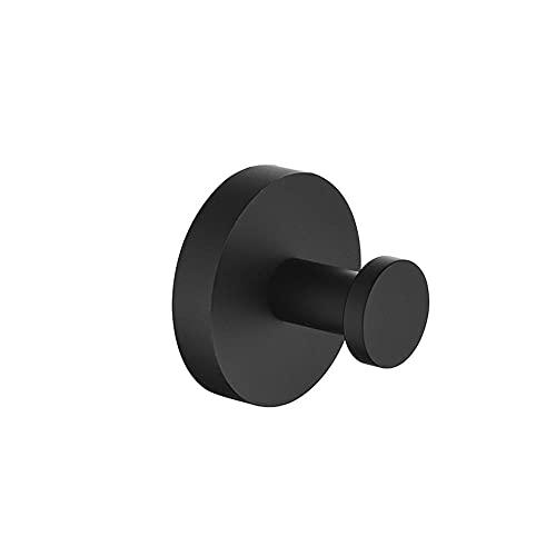 Espacio de aluminio Punzonado Fácil de instalar Black Round Head Single Hook Cargado fuerte Simple Moda Colgando Cabello Hook resistente a la corrosión fácil de limpiar e higiénico