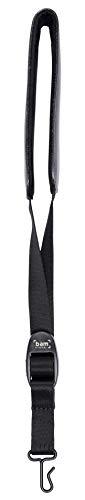 Cuello de cuero acolchado para instrumentos de viento - correa con gancho de metal, 57cm x 4.2cm x 0.4cm