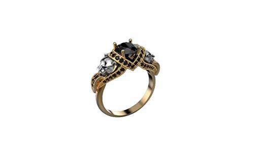 Panther - Anillo de compromiso para mujer, oro amarillo de 14 quilates, anillo de diamante negro, anillo de aniversario para ella, todos los Estados Unidos, envíenos un mensaje de su tamaño de anillo