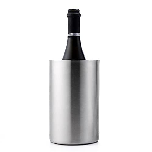 LBSY Cubitera de Acero Inoxidable - Cubo de Enfriador de Vino - Elegante Cubo de Vino Blanco O Enfriador de Champán para Todas Las Botellas de 750 Ml - para Mantener el Vino Frío, Plateado