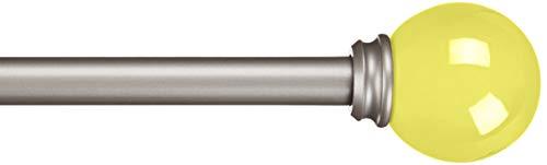 Amazon Basics - Bastone per tende, 1,6 cm, con elementi decorativi a forma rotondi, 218 cm, Giallo