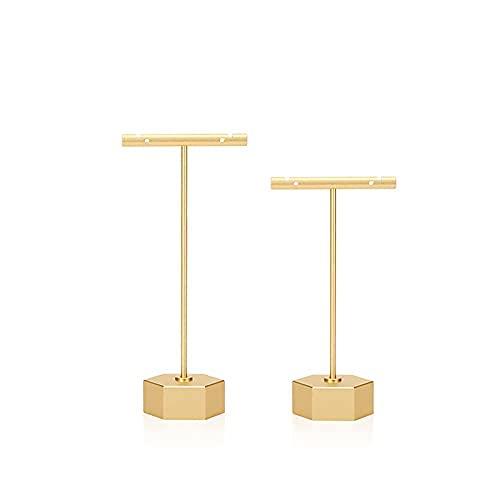 DriSubt 4PCS Organizzatore per Gioielli, Orecchino Stand Gioielli, A Forma di T, per Collane, Espositore di Braccialetti per Negozi, Vetrine, Casa (2PCS Gold Earrings Stands)