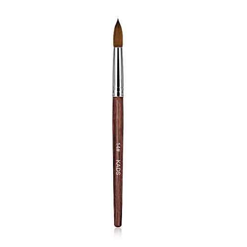 Kads Pinceau pour ongles et manucures en poil de martre, 100% acrylique, en bois rouge, outil de nail art, -12,14,16,18, 20 #, Red, 14#