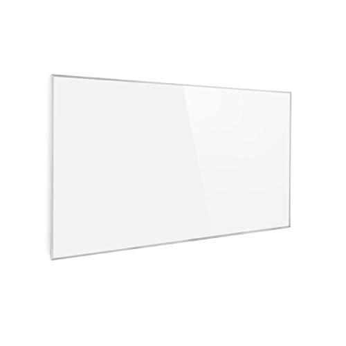Klarstein Wonderwall 60 - Panel de calefacción por infrarrojos, 60x100cm, 600W, Anti sobrecalentamiento, IP24, Temporizador, Ideal sensibles al polvo, Superplano, Cristal de carbono, Blanco