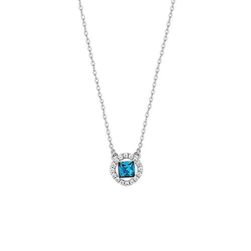 QiuYueShangMao Cadena de clavícula de río Azur Estrella Femenina Estilo japonés y Coreano Collar de Estrella Salvaje Simple Collar de Diamante de Estrella Azul y Luna Regalo Obsequios Personalizados