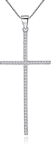 WYDSFWL Collar de Plata 925 de Cristal Austriaco, Collares Cruzados, joyería, Collar Llamativo para Mujer, Regalo