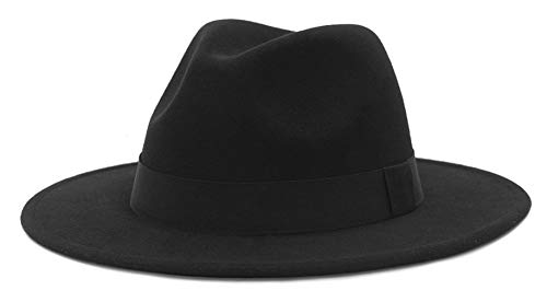 Cloud Kids Unisex Rollbarer Hut mit Breiter Krempe Wollfilzhut Fedora Trilby Hut Wintermütze Panamahut Schwarz Hutumfang 59-60cm