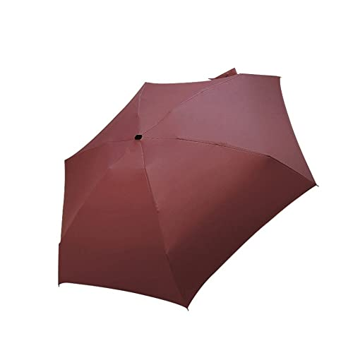 Paraguas Plegables Mujeres livianas Paraguas Negras Parasol, Travel Protable Pocket Mini Umbrella, 5 Veces Sun Rain Umbrella Unisex Mini Paraguas de Viaje (Color : Red)